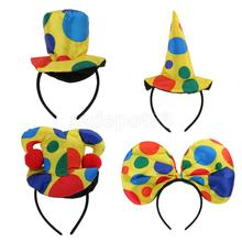 Polka Dot Clown Hat Headband Circus Jester Hairband Costume Fancy Dress #1(China)