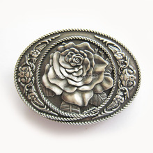 Distribute Belt Buckle Silver Plated Western Rose Oval Belt Buckle Free Shipping 6pcs Per Lot Mix Style is Ok