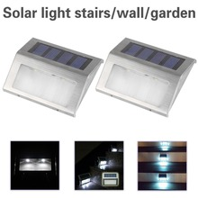 TSLEEN 2X 4X 8XSolar Power LEDs Outdoor waterproof Garden Pathway Stairs Lamp Light Energy Saving LED Solar wall Lamp Cold white