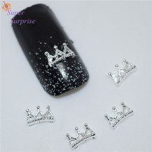 50Pcs new Silver Crown nail stickers, 3D Metal Alloy Nail Art Decoration/Charms/Studs,Nails 3d Jewelry H031(China)