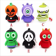 Promotion Gift Halloween pumpkin USB Flash Drive 8GB 16GB 32GB 64GB Memory Stick Pen Drive Disk for Laptop Computer Hallowmas(China)