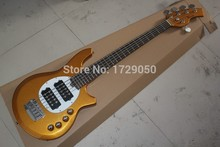 Chinese guitar Factory custom New Active Pickup Musicman Bongo Gold 5 String Electric Bass Guitar Music Man Bass  21