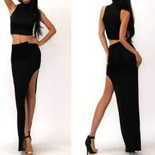 2017 Womens Ladies New Stylish Plain Slit Split Side Long Sexy High Waist Skirt Black High Quality(China)