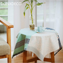 DUNXDECO Nordic Fresh Geometric Wave Patchwork Design Adorable Green Table Cloth Home Store Decorative Table Cover Photo Prop