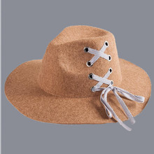 2018 New Fashion Wool Women's Black Fedora Hat For Lady Wool Wide Brim Jazz Church Cap Vintage Panama Sun Top Hat(China)