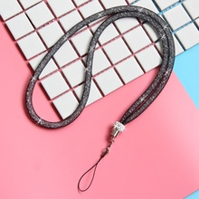 Luxurious 40cm Flash Universal Mobile Phone Neck Long Lanyard Strap Crystal Diamond Candy Color Cellphone Hanging Sparkling Rope(China)