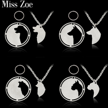 2pcs/set Golden Labrador Husky Border Collie German Shepherd Labradoodle Pendant Necklace Dog Tag Silver Pet Animal Jewelry Gift(China)