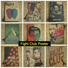 Fight Club Poster Brad Pitt movie photo wall kraft retro poster bar cafe decoration vintage painting