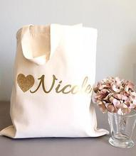 set of 6 Glitter Heart tote bags Personalized bridesmaid names Champagne Party wedding gift Bags Bachelorette bridal shower