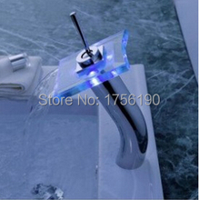"12"" Bathroom Battery RGB LED Light Basin Mixer Tap Chromed Brass Glass Waterfall Faucet LED-07(China)"