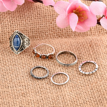 jewelry fashion alloy inlaid retro turquoise ring six sets of foreign trade hot jewelry hand ring