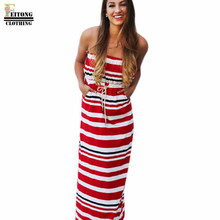 FEITONG Women  2017 Red Slashes Summer Casual Splicing Striped Sexy Tube Strapless Dress online shopping india#LREW