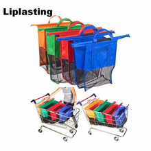 Liplasting 4 PCS Shopping Bag Eco Friendly Supermarket Trolley Bag Reusable Grocery Detachable Foldable Bags Mix Color(China)
