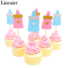 Lincaier 6 Piece Cute Feeding Bottle Cupcake Toppers Baby Shower BabyShower Favors Party Supplies Decorations Blue Pink