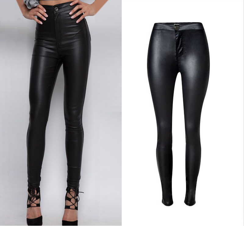 Women New Fashion Pants High-waist Stretch PU Leather Women Motorcycle Models Fashion Style Wild Coated Skinny Pencil PantsОдежда и ак�е��уары<br><br><br>Aliexpress