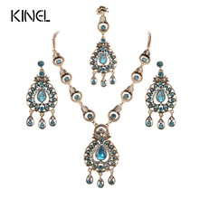 From India Vintage Look Jewelry Sets Pendants Necklace Earring For Women Gold-Color Mosaic Blue Crystal Party Gifts(China)