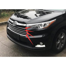 ABS Chrome Car Front Gille Trim Auto Grille Decoration Cover Trims For Toyota Highlander 2015 4pcs/set Free Shipping