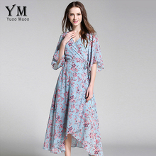 YuooMuoo New European Fashion V-neck Long Bohemian Dress Romantic Floral Print Light Blue Summer Dress Women Chiffon Maxi Dress(China)
