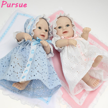 Pursue A Pair Twin Pink Blue Silicone Reborn Baby Dolls Toys for Girls Reborn Full Vinyl Body Baby Dolls for Sale bebes reborns