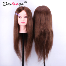 60CM Professional Hairdressing Training Dolls Head 100% Natural Real Hair Female Mannequin Head For Hairdressers(China)