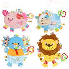 Baby Clam Plush Comfort Doll Label Placarders Towel Rattles Bb Device Multifunctional Toys Baby Towel WJ410(China)