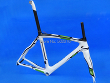 FR-308 : Carbon Cycling Road Bike Frame ( painted green , white ), Bicycle Fork  Seatpost Clamp  Headset size :  50cm  54cm 56cm