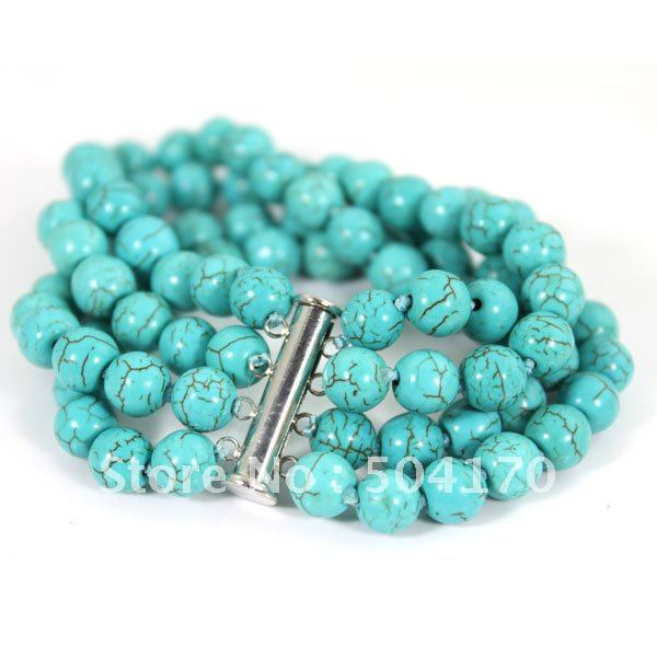 Fashion 4 Rows 8mm Natural Stone Bracelets Tube Clasp Summer Charms Free Shipping TN045