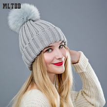 2017 New Winter Hat For Women balaclava Female Hat Cap Fur Ball Cap Pom Pom Knitted Beanies Cap Brand Thick Female Cap(China)