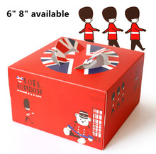 Free Shipping 50pcs/lot Portable Decorating Cake Box 6 inch 8 inch Little Red Soilder