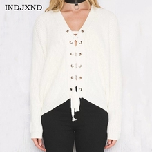 INDJXND Women's White Lace-up Sweaters Oversize Tops Solid Color Loose Cardigans Knitted Sweater Causal V-neck Women Cardigan(China)