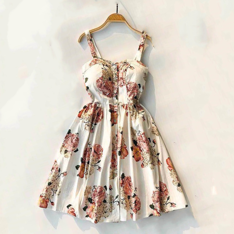 Marwin 19 New-Coming Summer Women Spaghetti Strap Print Floral Sleeveless Empire Beach Dresses High Street Style 5
