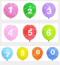 10PCS 12Inch 2.8g Child Birthday Number Latex Balloon Inflatable Float Air Balls For Christmas Wedding Party Decoration Balloons