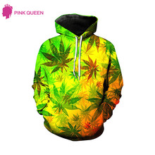 Pink Queen 3D Hoodies Maple Leaf Printed Hooded Z Pocket Sweatshirts Pullovers Men Women Long Sleeve Outerwear Hip Hop Hoodie