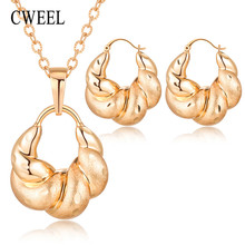 CWEEL Jewelry Sets Women Costume Jewelry Necklace Sets Party Wedding African Beads Jewelry Set Rose Gold Jewellery Sets