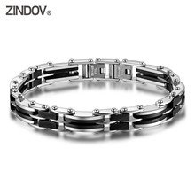 ZINDOV Top Male Bracelet 316L Stainless Steel Black Ceramic Two Size Luxury Jewelry Wristband Bracelets For Men Christmas Gifts(China)