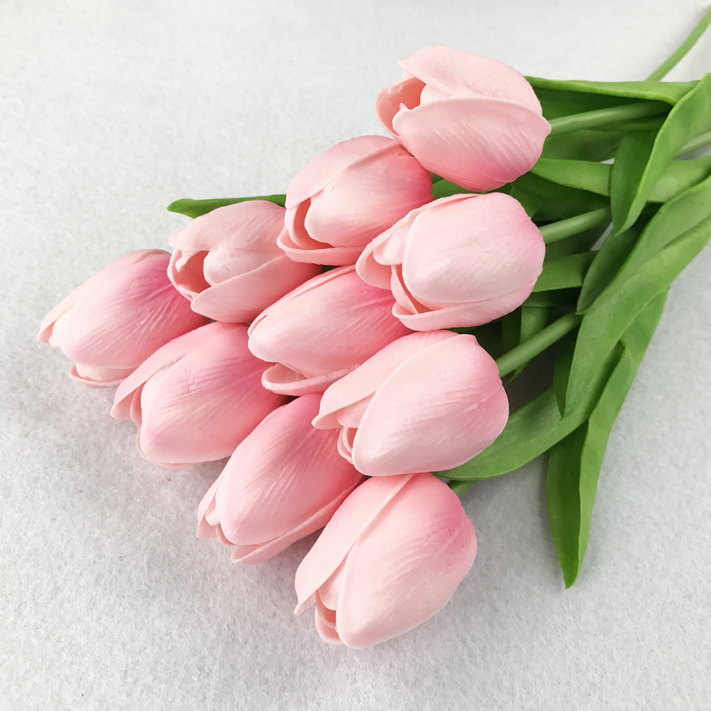 10PcsBag PU Holland Mini Tulip Artificial Flower Real Touch Tulip for Wedding,Home,Hotel,Party Decoration Valentine's Day Gift (24)