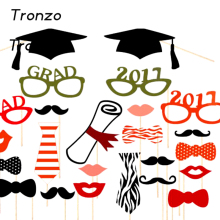 Tronzo New 2017 Graduation Party Supplies 24pcs Glasses Tie Funny Party Decoration Graduate Certificate Bachelor Cap(China)