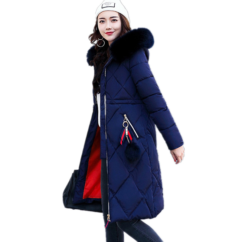 2017 Jacket Women Coat Wadded Jacket Medium-long Plus Size 4XL Parka Fur Collar Thickening Hood Abrigos Female Snow Wear TT1688CÎäåæäà è àêñåññóàðû<br><br>