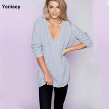 Europe 2016 new winter dress deep V neck and two all-match wear fashion sweater LFM640 0808