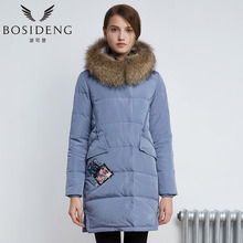 BOSIDENG 2017 new winter down coat women thick warm down parka mid-long outwear BIG real fur raccon fur appliques B1601254N(China)