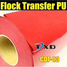Hot Selling material flock heat transfer film Flock Vinyl for Transfer with size:50X100CM per lot Red color