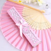 Vintage Japanese Bamboo Silk Folding Hand Fan with Gift Box Christmas Weeding Party Gift