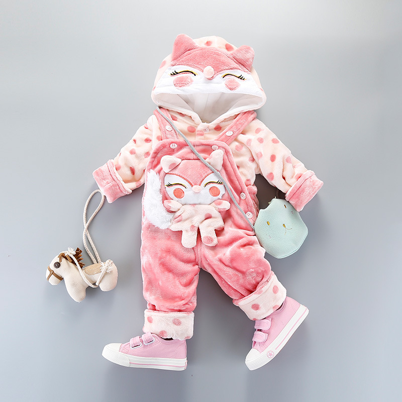 Winter Cartoon Strap Plus Velvet Clothing Infant Female Baby Travel Service Two Piece Suit For Girls<br>