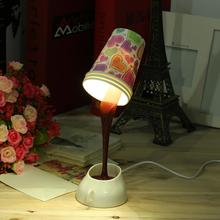 ICOCO 2017 New Hot Sale Fashion Modern DIY Creative Pouring Coffee LED Table Lamp USB Multicolor Shape Night Light Wholesale