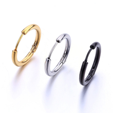 Hoop earrings basic style black silver gold body piercing huggie jewelry for men women round ear jewelry 1 pair free shipping