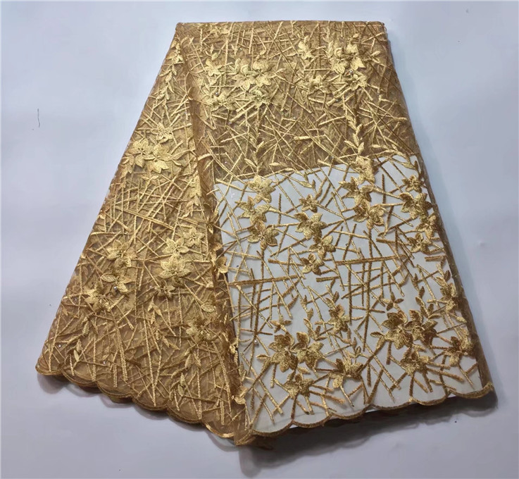 High African Tulle Lace Fabric Green Gold Nigerian Lace Fabrics Stones Gold Line French Lace Fabric (JY-8-17
