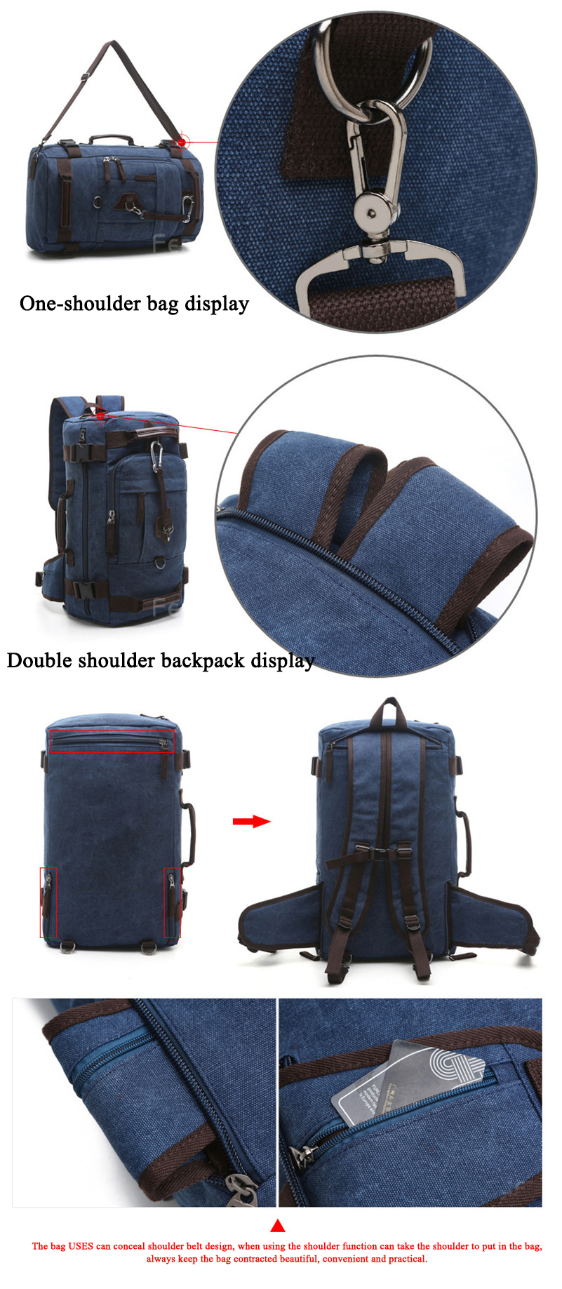 photos showing the materials of a blue navy rucksack and its anti-theft pockets