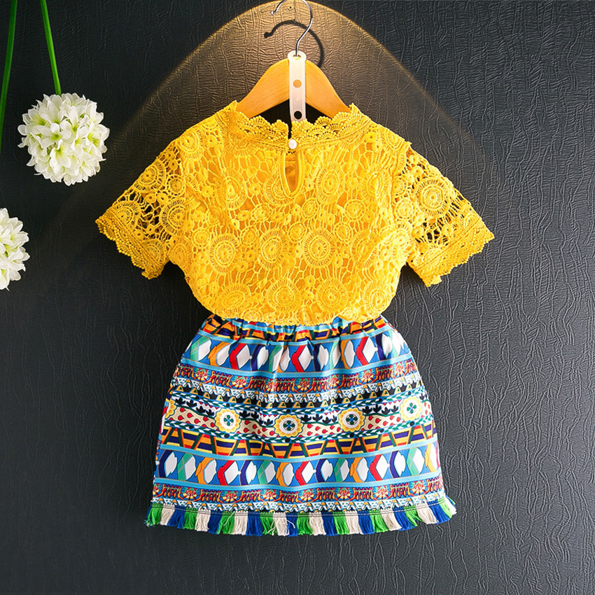 Girls Clothing Sets 2017 Summer Girls Clothes Hook Flowers Hollow Lace Kids Clothes T-shirt + Ethnic printed Children Clothing<br>