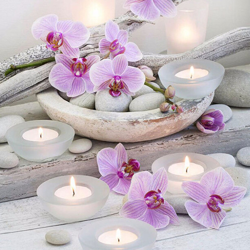 Diamond Embroidery Pictures Orchid Flowers Cross-Stitch Crystal Zen 5d Diy Round Hot-Sell title=