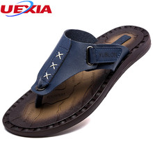 Buy UEXIA Outdoor Leather Summer Casual Shoes Men Slippers Walking Beach Fashion Breathable Designer Classical Flip Flops Footwear for $21.24 in AliExpress store